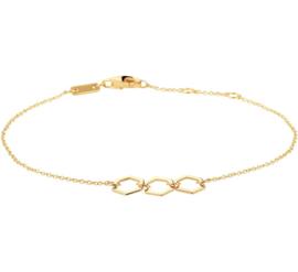 Gouden Armband met Drie Zeshoekige Plaatjes
