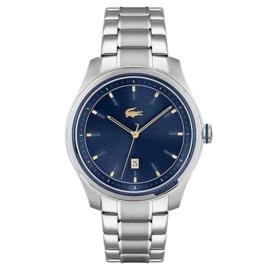 Lacoste Musketeer Zilverkleurig Heren Horloge met Blauwe Wijzerplaat