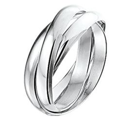 Zilveren Ring met Meerdere Bolle Stroken