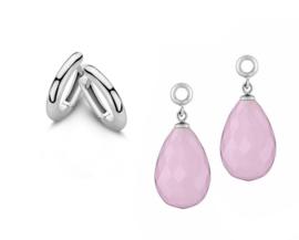 MY iMenso Zilveren Creoli Oorbellen + Roze Creoli Hangers