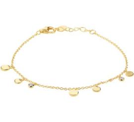 Goud Kleurige Armband met Ronde Schijfjes en Zirkonia