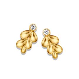 Excellent Jewelry Geelgouden Oorstekers met Blaadjes en Zirkonia
