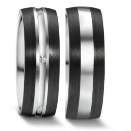 Robuuste Carbon Trouwringen Set met Zilver en Diamanten