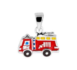 Zilveren Brandweerauto Hanger met Emaille