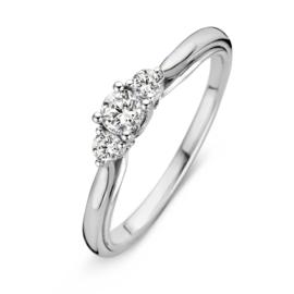 Excellent Jewelry Bolstaande Ring van Witgoud met 0,31 crt. Briljant