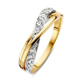 Excellent Jewelry Bicolor Abstracte Dames Ring met Zirkonia Rij