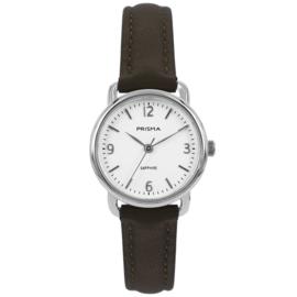 Prisma Zilverkleurig Dames Horloge met Bruine Horlogeband