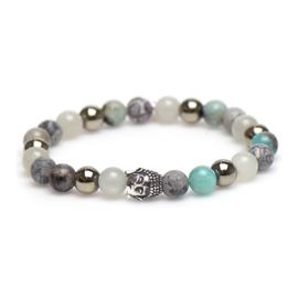 Gekleurde Karma Armband met Zilveren Buddha 86746