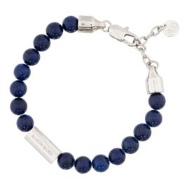 Blaauw Bloed Royal Lapis Lazuli Armband met Zilverkleurige Bedel
