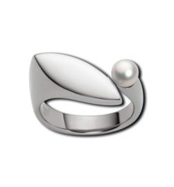 Zilverkleurige Abstracte Ring met Zoetwaterparel van M&M