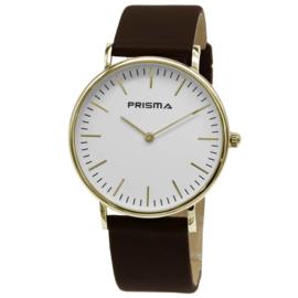 Prisma Verfijnd Goudkleurig Dames Horloge met Bruin Lederen Horlogeband