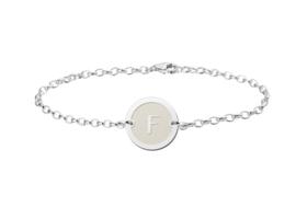 Names4ever Zilveren Armband met Ronde Letterhanger