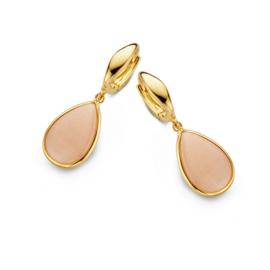 Excellent Jewelry Geelgouden Creolen met Roze Maansteen