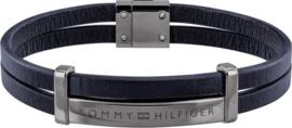 Blauw Lederen Dubbele Armband van Tommy Hilfiger
