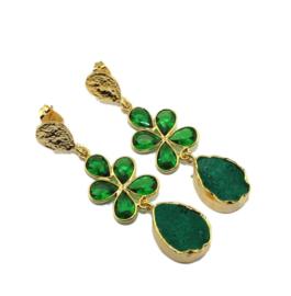 Goudkleurige Oorhangers met Emerald Natuursteen van Sujasa