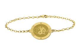 Gouden Armband met Ovaalvormige Steenbok Sterrenbeeld Naamhanger > Names4ever