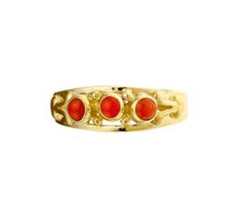 Decoratieve Vintage Gouden Ring met Bloedkoraal Steentjes