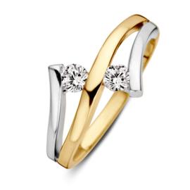 Excellent Jewelry Ring van Geelgoud met Witgoud en Zirkonia's