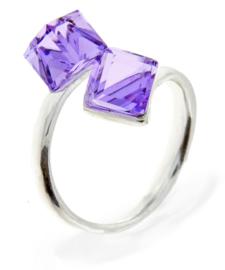 Zilveren Swarovski Kubus Ring van Spark Jewelry