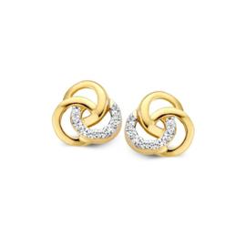 Excellent Jewelry Drie Overlappende Cirkels Oorstekers met Zirkonia's