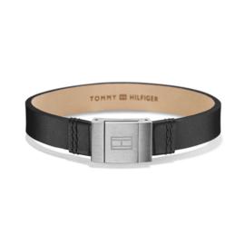 Tommy Hilfiger Brede Zwarte Lederen Heren Armband TJ2700950