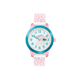 Lacoste Kids Horloge met Roze Gevlekte Siliconen Horlogeband