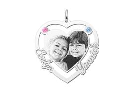 Zilveren Hart Hanger met Fotogravure en Namen van Names4ever