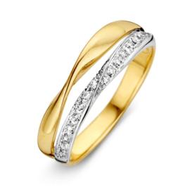Excellent Jewelry Gevouwen Geelgouden Ring met Zirkonia's
