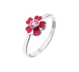 Zilveren Ring voor Kinderen met Rode Bloem en Zirkonia