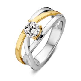 Excellent Jewelry Zilver met Gouden Ring met Ronde Zirkonia