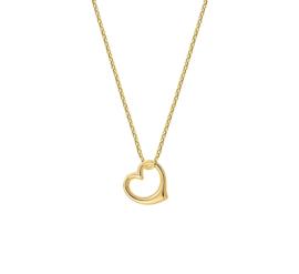 Gouden Anker Collier met Gekantelde Opengewerkte Hart Hanger