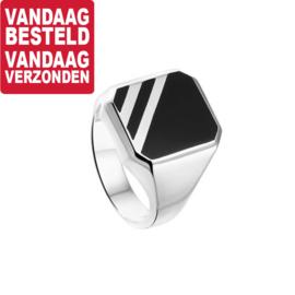 Zilveren Zegelring met Zwarte Onyx Steen en Strepen / Ringmaat 21,5