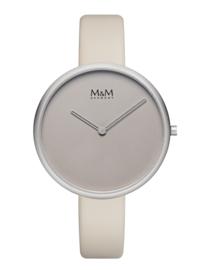 M&M Horloge met Zilverkleurige Kast en Grijze Wijzerplaat