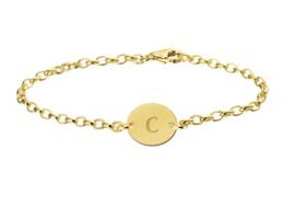 Names4ever Zilveren Armband met Ovaalvormige Letterhanger