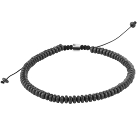 Zwarte Koord Armband met Hematiet Discs
