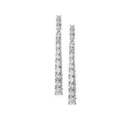 Langwerpige Zirkonia Oorhangers van Zilver