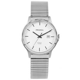 Zilverkleurig Heren Horloge van Edelstaal met Rekband