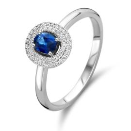 Excellent Jewelry Witgouden Diamant met Saffier Ring