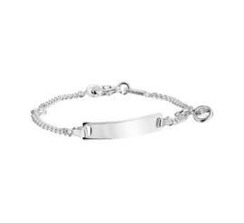 Zilveren Graveer Armband met Zirkonia Bedel