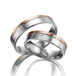 Zilveren met Roségouden Trouwringen Set met Diamant