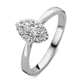 Excellent Jewelry Witgouden Ring met Bladvormig Kopstuk met Briljanten