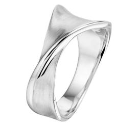 Gedraaide Ring van Zilver met Gepolijste en Gematteerde Bewerking