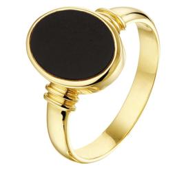 Ovale Zwarte Onyx Dames Zegelring van Massief Geelgoud
