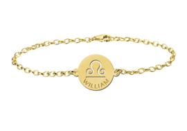 Gouden Armband met Ronde Weegschaal Sterrenbeeld Naamhanger > Names4ever