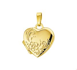 Hartvormig Foto Medaillon van Geelgoud met Bloem Decoraties