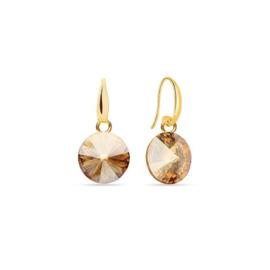 Spark Jewelry Oorhangers met Goudkleurige Glaskristal