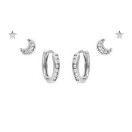 Karma Jewelry – Zesdelige My Moon & Stars Earparty Set - Zilver