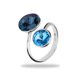 Zilveren Ring met Blauwe en Donkerblauwe Swarovski kristallen