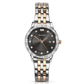 Zilverkleurig Dames Horloge met Roségoudkleurige Elementen