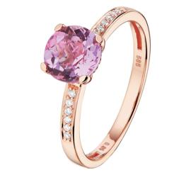 Roségouden Ring met Diamanten en Paarse Amethist
